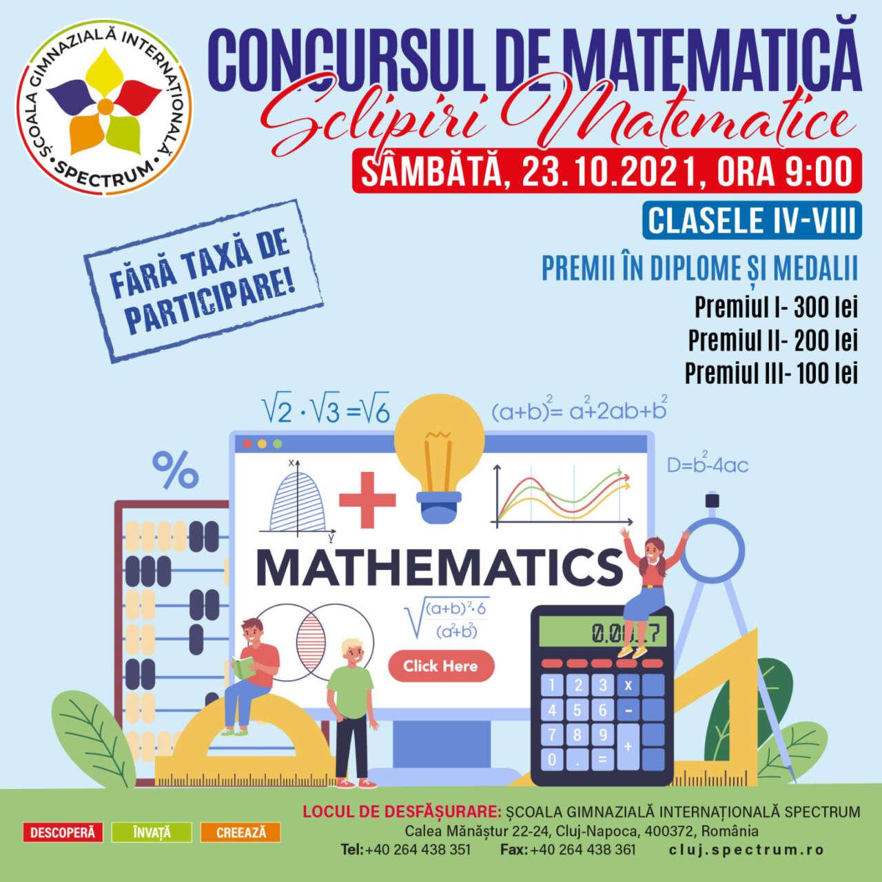 """Concursul de Matematică """"Sclipiri Matematice"""""""